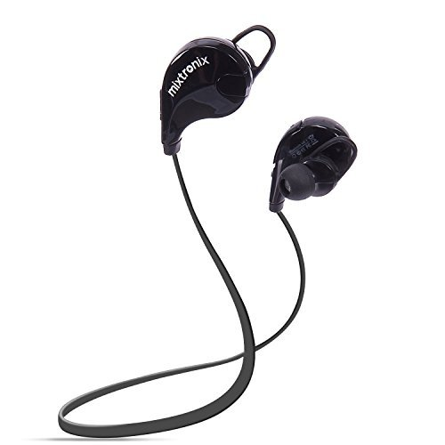 MIXTRONIX Bluetooth Wireless Headphones, 4.1 Noise Cancelling Sports Stereo Headset, Sweatproof Earbuds with Mic, Secure Fit Sport Running Earphones