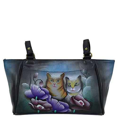Anna by Anuschka Damen Leder Small Tote Handtasche Handbemalt Original Artwork, (Zwei Katzen grau), Einheitsgröße