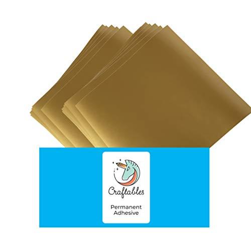 Craftables Gold Vinyl Sheets - Permanent, Adhesive, Glossy & Waterproof | (10) 12