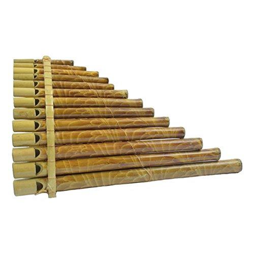 Panflöte Pfeife aus Bambus mit Mundstück -ideal für Einsteiger, Blas Instrument Handarbeit Musik Rhythmus Klang Percussion Kinder Spielzeug (Groß)