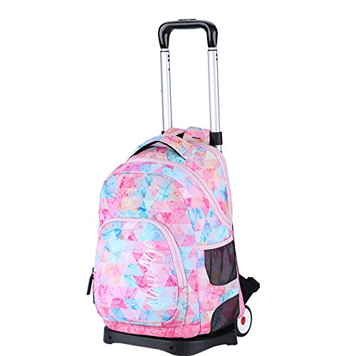 FREETT Girl Trolley Bag, Child Trolley Backpack with Wheeled and Laptop Compartment, Student Luggage Case Bag for School Boarding and Travel, Pink, 30 * 20 * 43 cm