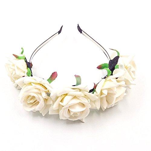 JZK® Beige Rose Damen Mädchen Garland Blumen Blumenkrone Kranz Tiara Blumen Haarreif Haarband Haar Band Kopfband Blumenstirnband für Hochzeit Braut Brautjungfer Party Festival etc. (Beige)