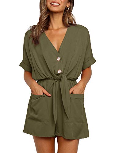 Ivay Womens V Neck Button Rompers Knot Tie Short Sleeve Sexy Loose Playsuit Jumpsuit with Pockets Army Green