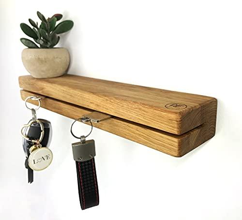 Schlüsselbrett Holz mit Ablage - Schlüsselboard aus Eiche - Schlüsselhalter Wand Aufbewahrung Key Organizer Holder Wall