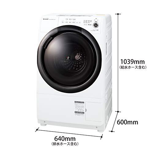 シャープドラム式洗濯乾燥機ヒーターセンサー乾燥右開き(ヒンジ右)洗濯7kg/乾燥3.5kgホワイト系幅640mm奥行600mmDDインバーター搭載2021年春モデルES-S7F-WR
