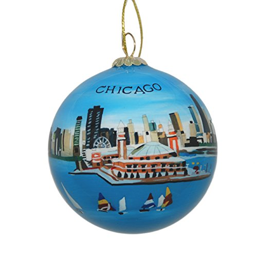 Hand Painted Glass Christmas Ornament - Chicago, Illinois Skyline and Navy Pier