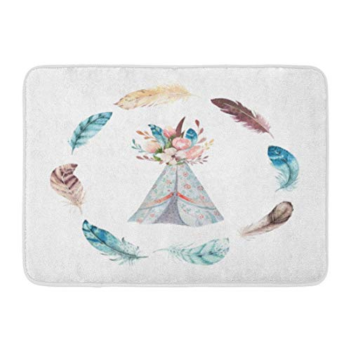 Yuanmeiju Doormats Bath Rugs Door Mat Watercolor Tribal Teepee White Campsite Tent Boho America Traditional Native Indian Tee Pee Arrows 15.8'x23.6'