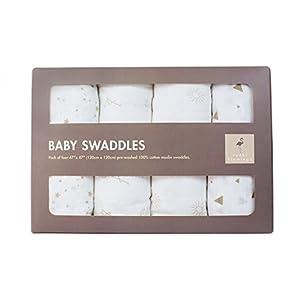 Premium muselina mantas | bebé disfrutar siendo envuelto | Pack de 4diseños Unisex | lujoso transpirable suave algodón | Extra grande | 100% garantía de infinity | ideal regalo |