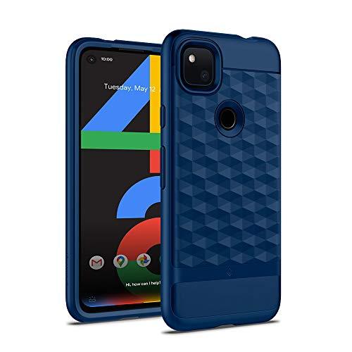 Hülleology Parallax Kompatibel mit Google Pixel 4a Hülle, Blau 3D Muster Schutzschicht Stoßfest Hülle Handyhülle für Google Pixel 4a - Classic Blue