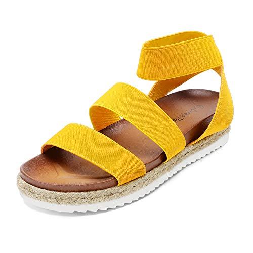 DREAM PAIRS Women's Mustard Yellow Open Toe Elastic Ankle Strap Espadrille Flatform Platform Wedge Sandals Size 10 M US Jimmie