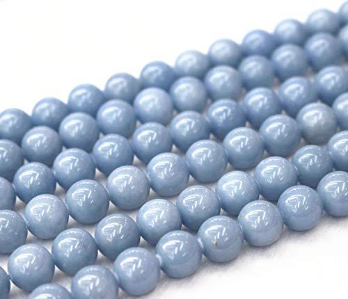 Lot de 63 perles d'angélite naturelles 6 mm 8 mm 10 mm 12 mm 14 mm 16 mm