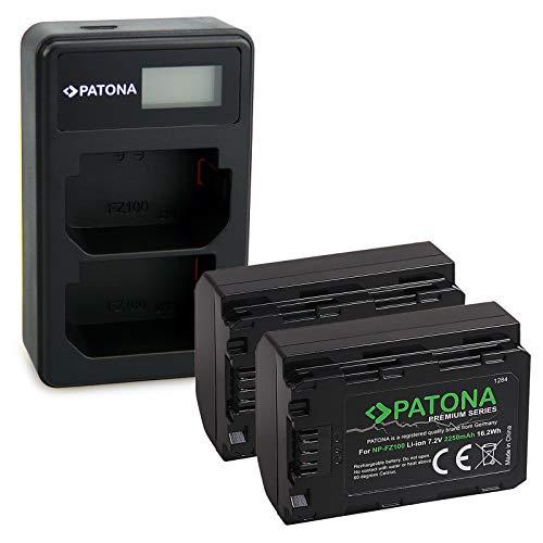 PATONA Caricatore doppio LCD USB con 2x NP-FZ100 Premium Batteria compatibile con Sony Alpha 9, 9II, 7RM3, 7RM4, A7 RIII, A7 RIV