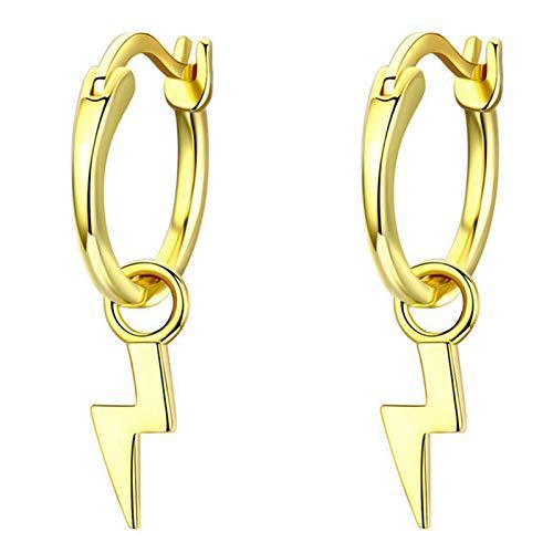 BNMY Pendientes De Plata Esterlina 925 Pendientes De Oro con Relámpagos Pendientes Delicados Joyas De Oro, para Regalo De Mujer Y Niña,Oro