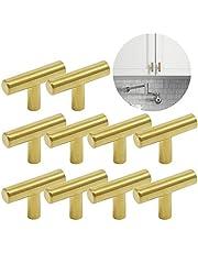 Ziyero 10 stuks T geborsteld roestvrij staal handvat keukenkast geborsteld nikkel kast staaf knoppen kan worden gebruikt in slaapkamers, badkamers, keukens, woonkamers, kinderkamers, studeerkamers, enz