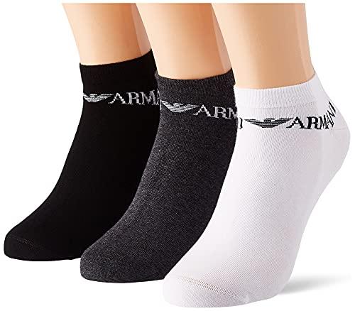 Emporio Armani Underwear Mens Casual 3 Pack In-Shoe Socks, Bla/Whit/Melang.Grey, L (3er Pack)