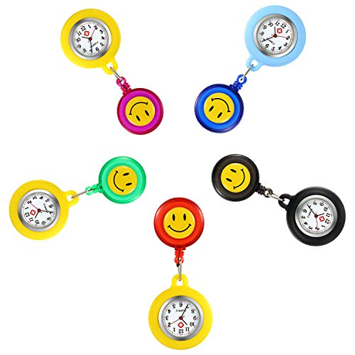 Women Retractable Nurse Watches Clip-on Hanging Lapel Silicone Jelly Fob Watch Cute Cartoon Smile Round Face Arabic Markers for Doctor - 5 Pack