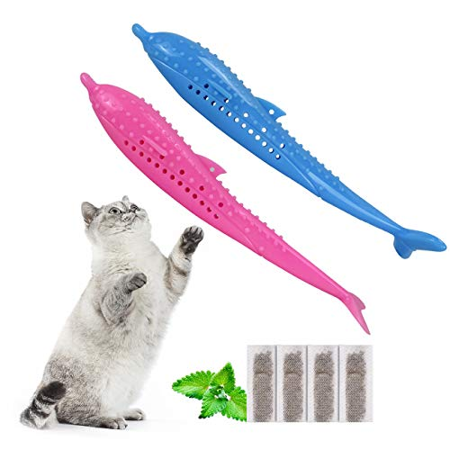 Comius Sharp Katzenzahnbürste, 2 Pack Beißring Spielzeug mit, für Kauen Zahnreinigung Spielzeug Silikon Molar-Stick, zum Reinigen der Zähne,Silikon Fisch, Katzenminze Haustier Spielzeug
