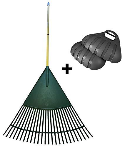 Novatool Laubrechen XXL 80 cm grün Teleskopstiel + Laubpicker XL anthrazit Laubschaufel (1, 80cm+Laubpicker)