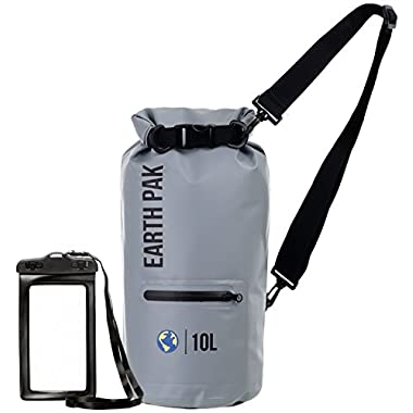 Earth Pak Waterproof Dry Bag with Front Zippered Pocket Keeps Gear Dry for Kayaking, Beach, Rafting, Boating, Hiking, Camping and Fishing with Waterproof Phone Case
