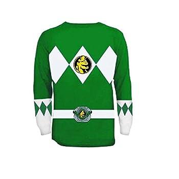 Power Rangers The Long Sleeve Ranger Costume Green T-Shirt  Adult Large