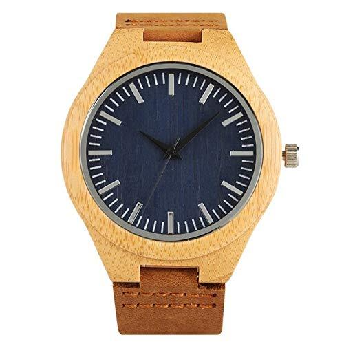 RWJFH Reloj de Madera Reloj Deportivo de Cuarzo con Esfera Azul Oscuro de café Retro para Hombre, Esfera Redonda de Lujo, Banda analógica, Reloj Deportivo de Moda para Hombre, Esfera Azul
