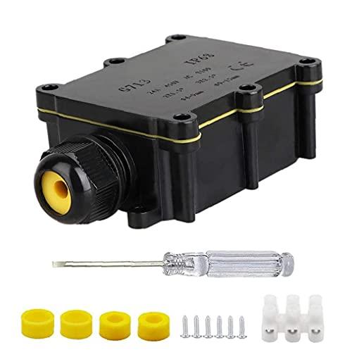 Caja de conexiones IP68 Conector de cables externos de 2 maneras enchufe de línea externa a prueba de agua al aire libre eléctrico Negro Para Industrial