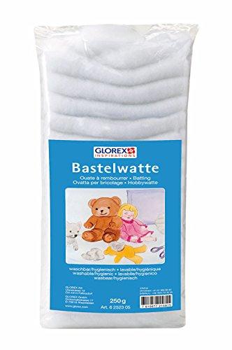 Glorex 6 2523 05 - Bastelwatte, 250 g, weiß, 100 % Polyester, waschbar und hygienisch, flauschiges Füllmaterial für große Füllungen wie Kissen