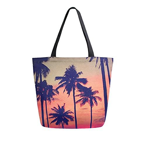 COZYhome - Bolso de lona grande, para verano, puesta del sol, palmera, reutilizable, bolsa de compras, bolsa de hombro para mujer, trabajo, escuela, etc