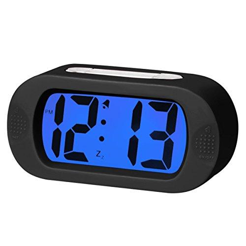 EASEHOME Sveglia Digitale in Silicone, Sveglie da Comodino Sveglia Elettronica Allarme Sveglia Batteria con Snooze e Luce Notturna per Bambini Adulti Orologio da Viaggio, Nero