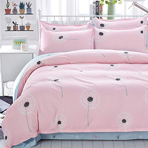 Uozzi Bedding Twin Kids Duvet Cover Set Pink Floral 3 Pieces -(1 Duvet Cover +2 Pillow Shams) 800 - TC Luxury Hypoallergenic Girls Teen Comforter Cover with Zipper & Ties for Luxury Guest Room Deco