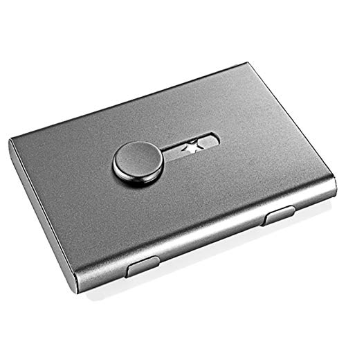 Tarjetero Titular de la Tarjeta de Visita Hand Push Tarjeta de la Tarjeta Banco Tarjeta de Membresía Paquete Metal Ultra Thin Tarjeta de Visita Paquete Organizador (Color : Grey)