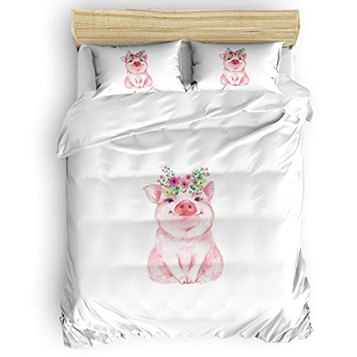 4 Pieces Luxury Duvet Cover Set Cute Pig Flower for Kids/Girl/Women/Adults Cartoon Breathable Bedding Comforter Cover Sets with Zipper, 4 Corner Ties Full