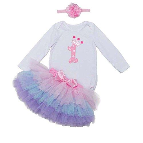 BabyPreg Baby Girl 's Langen Ärmeln 1. Geburtstag Tutu Outfit Kleid Haarband, rosa/Purpur, Gr.L