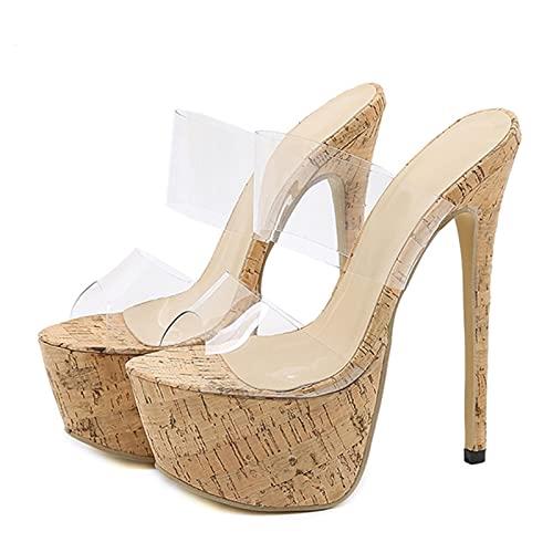 TER Pantofole Trasparenti in PVC con Piattaforma Sexy Estiva Pantofole con Tacchi Alti Sottili Scarpe da Discoteca Stripper Party Dress Sandali