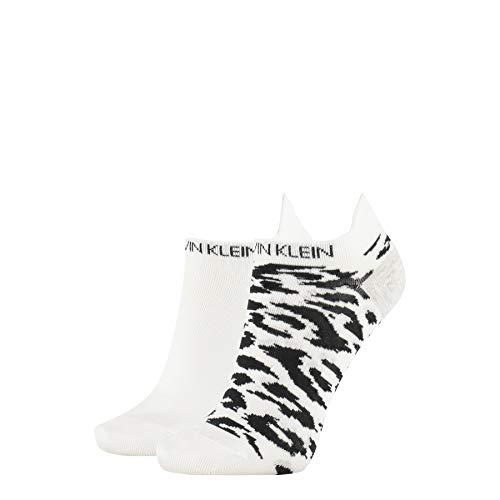 Calvin Klein Socks Womens Liner 2p Leopard Back tab Socks, White, ONE Size
