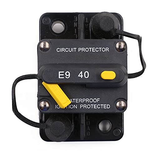 T Tocas 40 Amp Surface-Mount Circuit Breakers with Manual Reset, 12V- 48V DC, Waterproof (40A)
