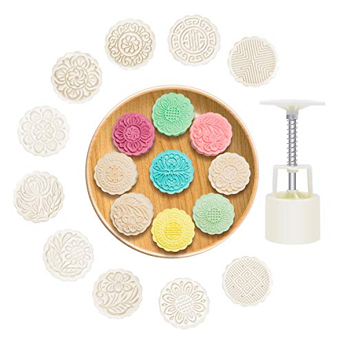 Moon Cake mold Mid-Autumn Festival Hand-Pressure Cookie Stamp Mold set With 10 Pcs Mode Pattern Hand Stamp Mooncake Fodant Mould Gift DIY Mooncake Press Molds 100g