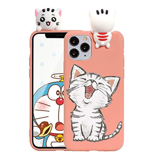 ZhuoFan Custodia Apple iPhone 11 con 3D Cartoon Doll, Sottile Arancia Back Bumper Cover Silicone con Print Gatto Pattern Shockproof Protettiva Phone Cases per Apple iPhone 11, Gatto 04