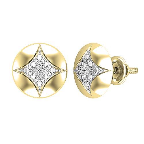 Dazzlingrock Collection Pendientes redondos de diamante cultivado en laboratorio de 0,05 quilates con forma de cometa redondeada, disponibles en metal de oro de 10 K/14 K/18 K y plata de ley 925.