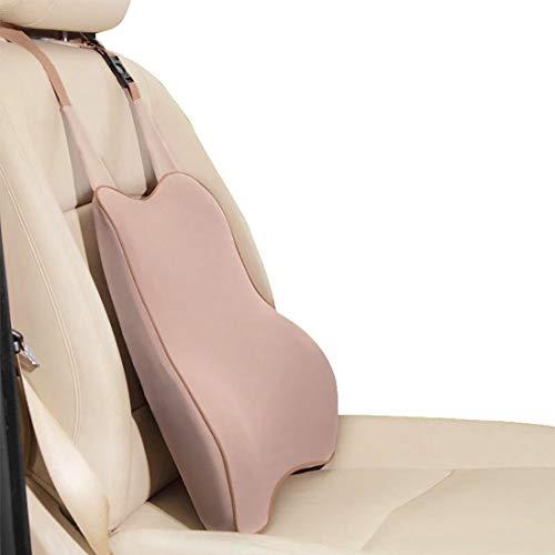 XIANGSHAN Tirantes for cojines del asiento, cojines ergonómicos de soporte lumbar for el asiento del automóvil, deformación duradera, algodón transpirable con memoria. (Color : Beige)