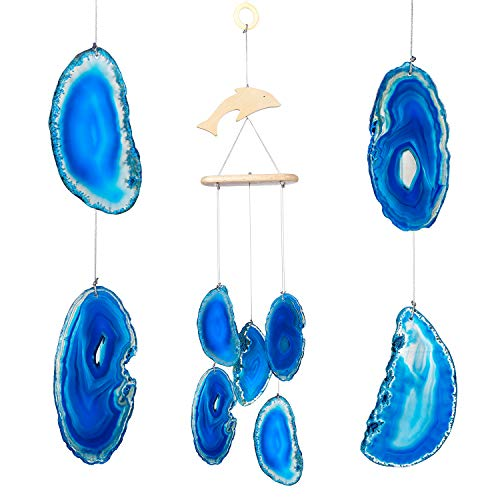 CozyCabin Dolphin Blue Agate Slices Wind Chime - Wall Hanging with Natural Sound - for Outdoor Patio Home Decorative Ornament, 14-20 Inches