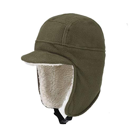 Connectyle Mens Fleece Beanie Hat with Ear Flap Warm Winter Hats with Brim Outdoor Fishing Skull Cap Army Green