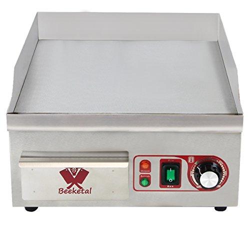 Beeketal 'BHGP-1' Profi Gastro Gusseisen Grillplatte elektrisch mit 38 x 35 cm Grillfläche (glatt), stufenlos 50-300 °C (2000 Watt), Elektrogrill mit Spritzschutz Aufkantung und Fett Auffangbehälter