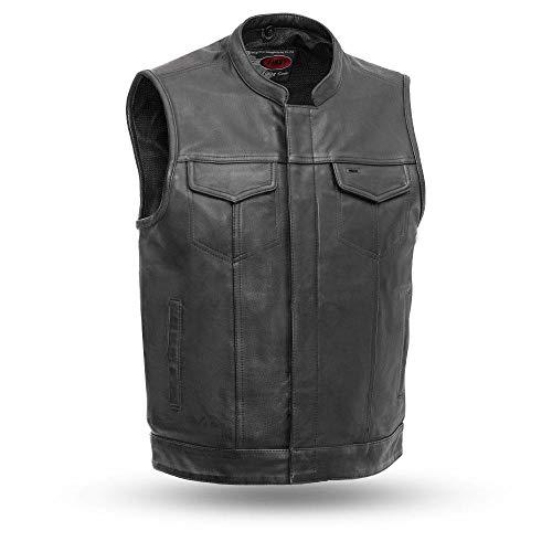 First MFG Co. - Sharp Shooter - Men's Motorbike Motorcycle Club Leather Vest Waistcoat (Black, Large)
