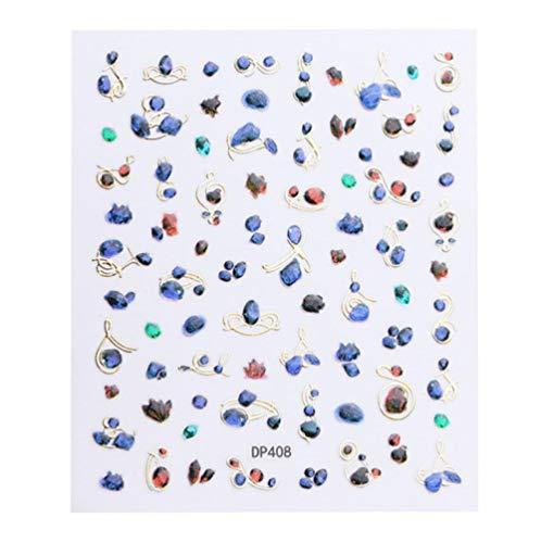JSIYU Stickers Ongle 3D en Relief Fleur Nail Autocollant Ligne Géométrique Lune Bronzant Curseur Manucure Ongles Art Décoration A-Y02