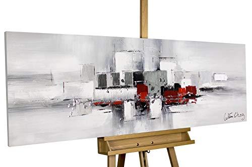 Kunstloft Cuadro en acrílico Rodeadas por la Niebla 150x50cm | Original Pintura XXL Pintado a Mano sobre Lienzo | Abstracto Rojo Gris | Cuadro acrílico de Arte Moderno con Marco