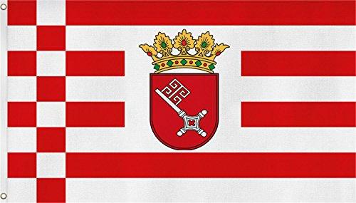 normani Bundesland Fahne, Grösse: ca. 90x150 cm, Ordentliche Qualität - Keine hauchdünne Ware - Stoffgewicht ca. 90 gr/m2, Reissfest, für Aussenbereich geeignet Farbe Bremen