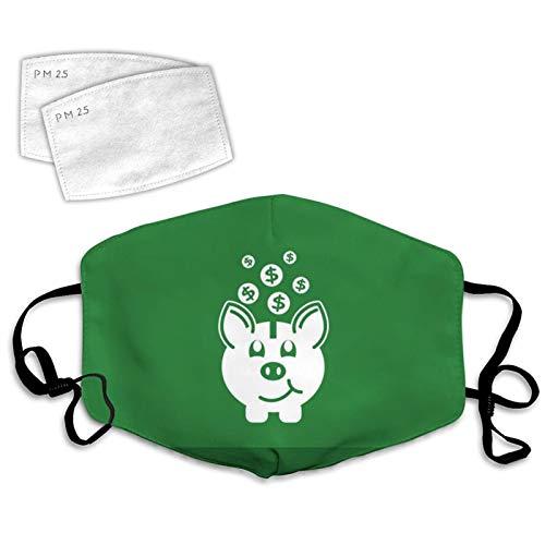 835 Piggy Bank Green Face Covering Decorazione Unisex Lavabile Riutilizzabile Traspirante 2PCS Filtri Salvadanaio Verde Taglia unica