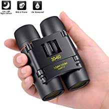 30x60 Compact Binoculars, Small Folding Binoculars with Night Vision, Large Eyepiece Easy Focus for Kids Adults Bird Watching Travel Hunting Concerts Sports, Waterproof Telescope with Strap Bag(Black)