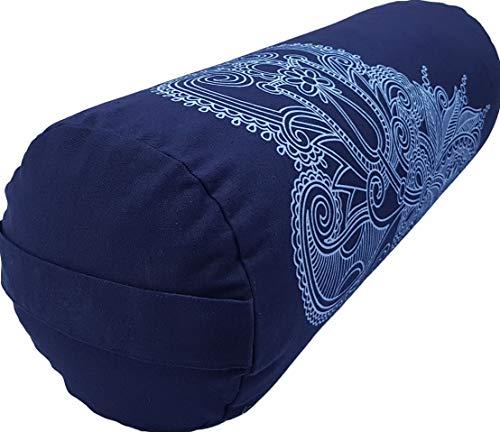 Tvamm-Lifestyle - Cojín para yoga (65 x 22 cm, relleno de cáscara de trigo sarraceno), Blue Mandala